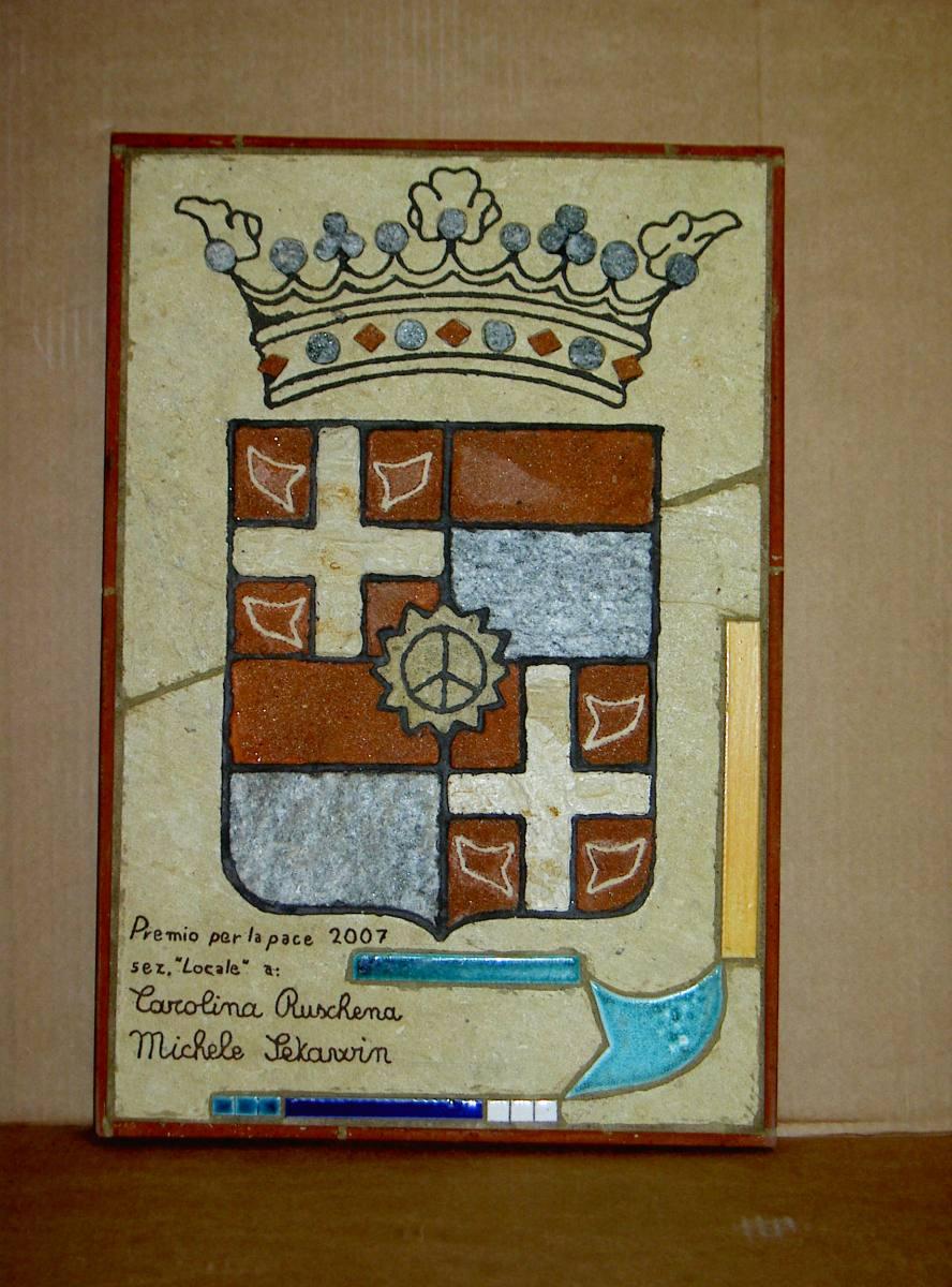 targa premio pace su stemma  di Casale 2